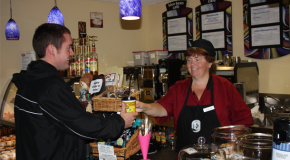 Kathy Fry spreads cheer at Blue Bean