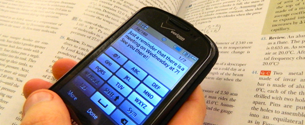Communications department texts students updates, news