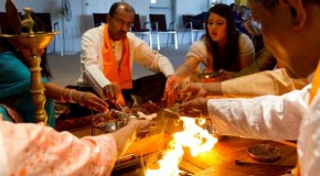 Religious studies classes attend Vedic Hindu fire ceremony